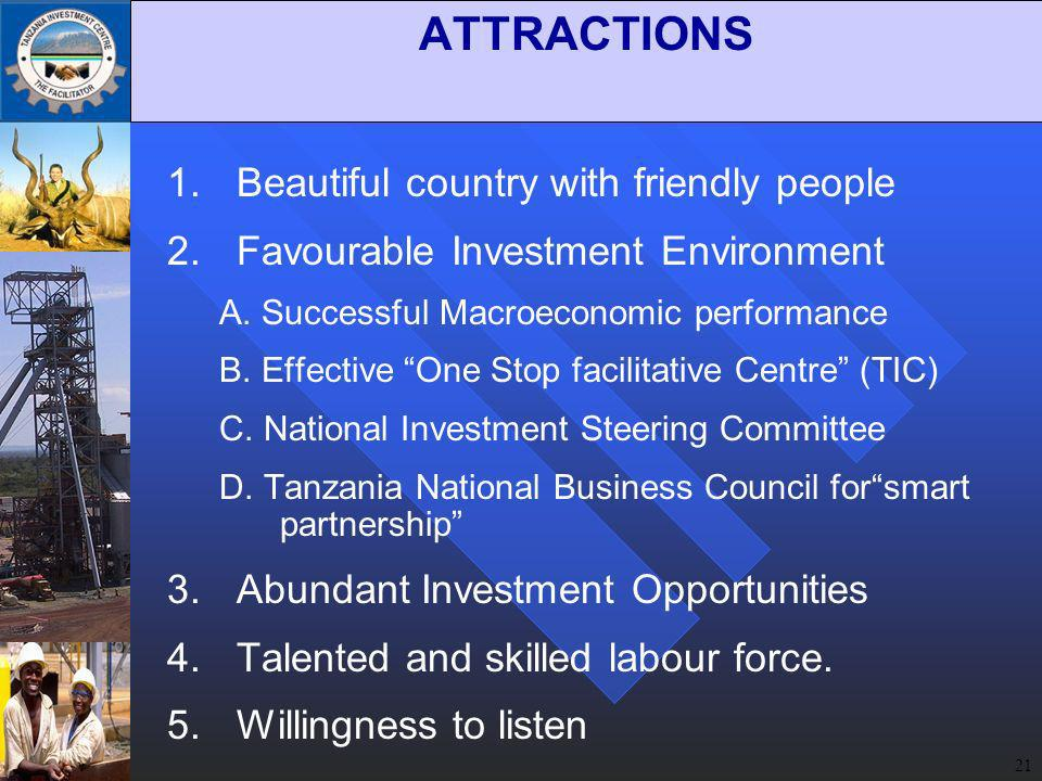 21 ATTRACTIONS 1.Beautiful country with friendly people 2.Favourable Investment Environment A.