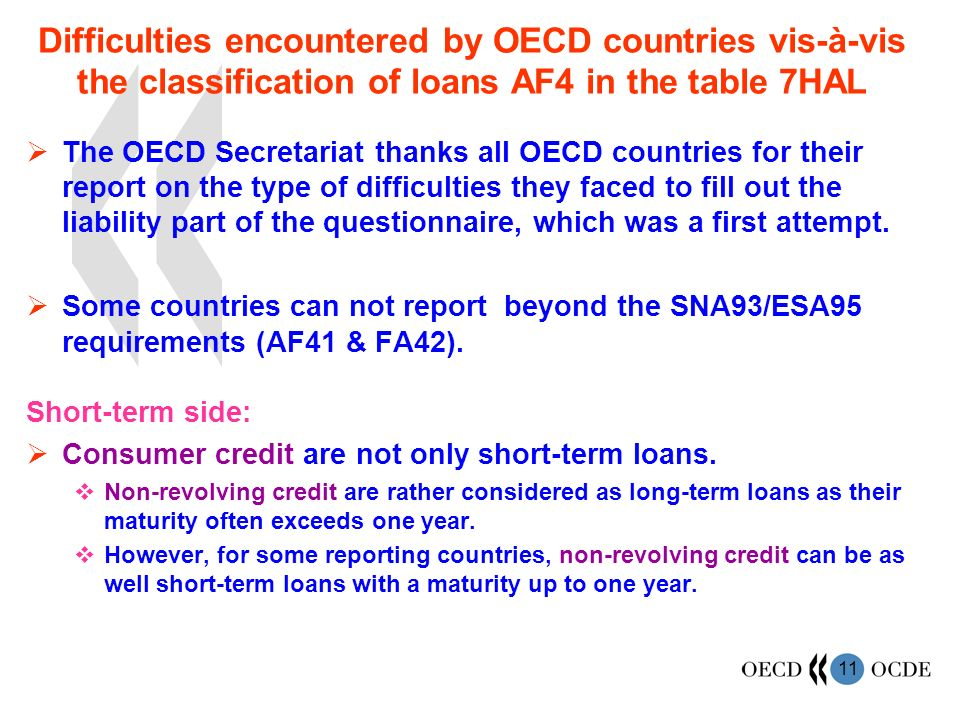 11 Difficulties encountered by OECD countries vis-à-vis the classification of loans AF4 in the table 7HAL The OECD Secretariat thanks all OECD countries for their report on the type of difficulties they faced to fill out the liability part of the questionnaire, which was a first attempt.