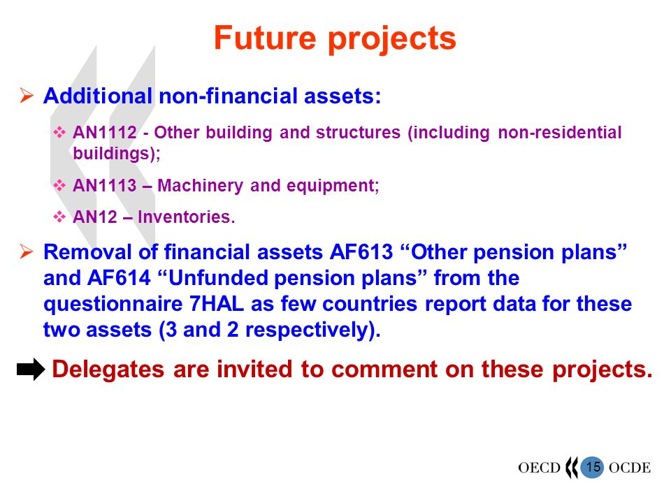 15 Future projects Additional non-financial assets: AN1112 - Other building and structures (including non-residential buildings); AN1113 – Machinery and equipment; AN12 – Inventories.
