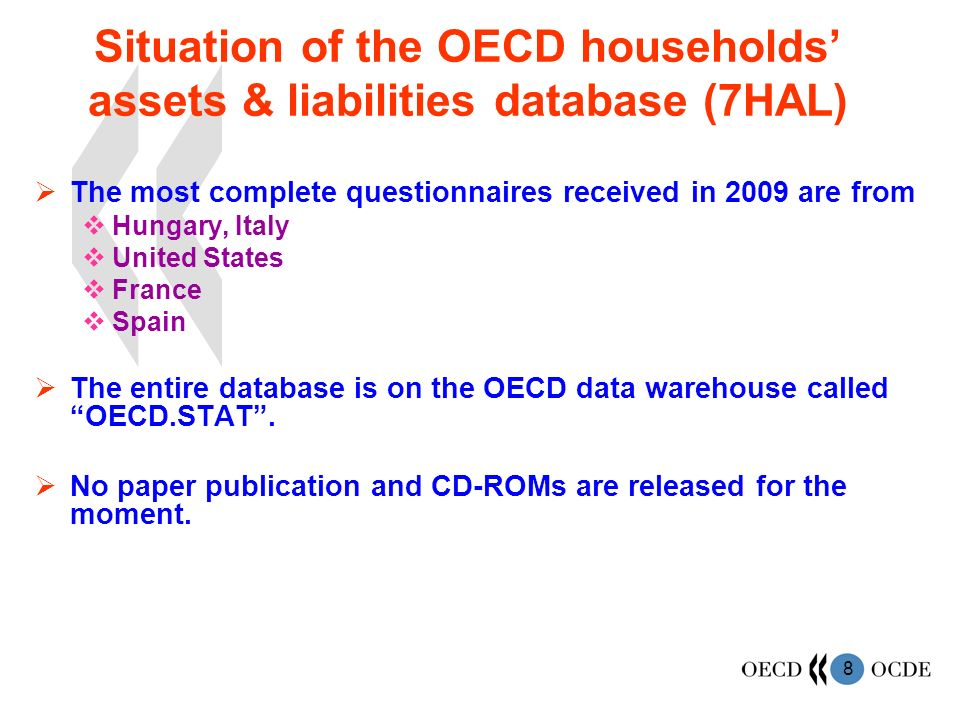 8 Situation of the OECD households assets & liabilities database (7HAL) The most complete questionnaires received in 2009 are from Hungary, Italy United States France Spain The entire database is on the OECD data warehouse called OECD.STAT.