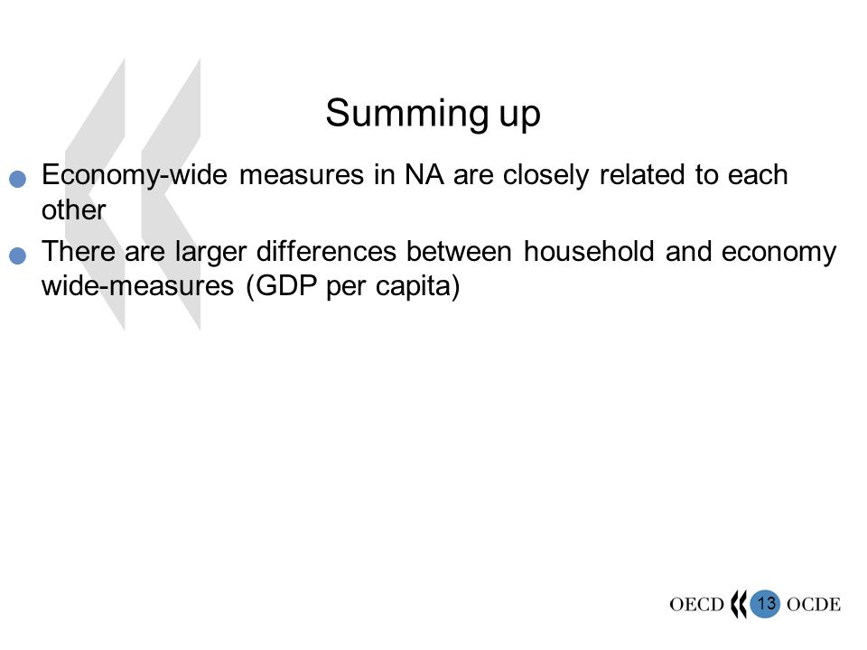 13 Summing up Economy-wide measures in NA are closely related to each other There are larger differences between household and economy wide-measures (GDP per capita)