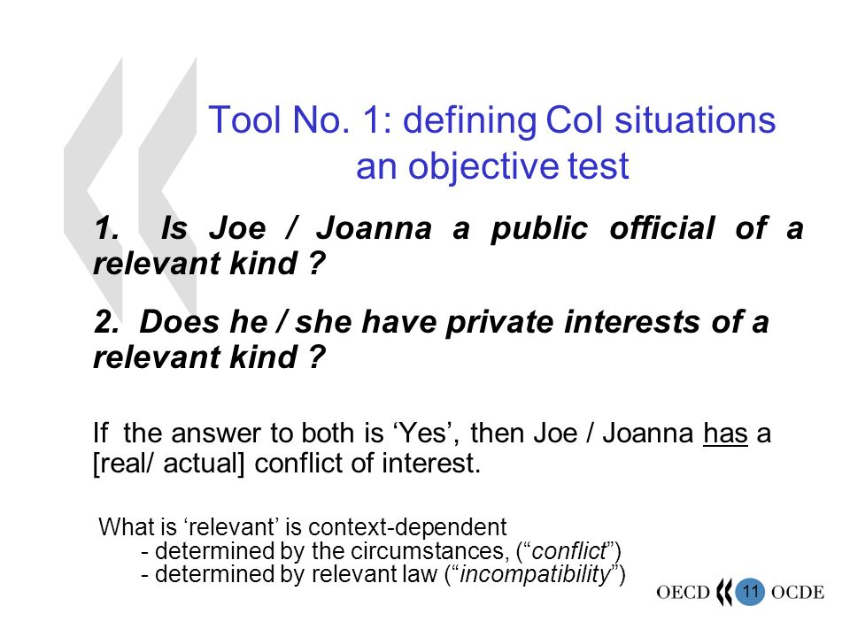 11 Tool No. 1: defining CoI situations an objective test 1.