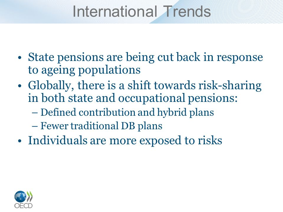 International Trends State pensions are being cut back in response to ageing populations Globally, there is a shift towards risk-sharing in both state and occupational pensions: –Defined contribution and hybrid plans –Fewer traditional DB plans Individuals are more exposed to risks