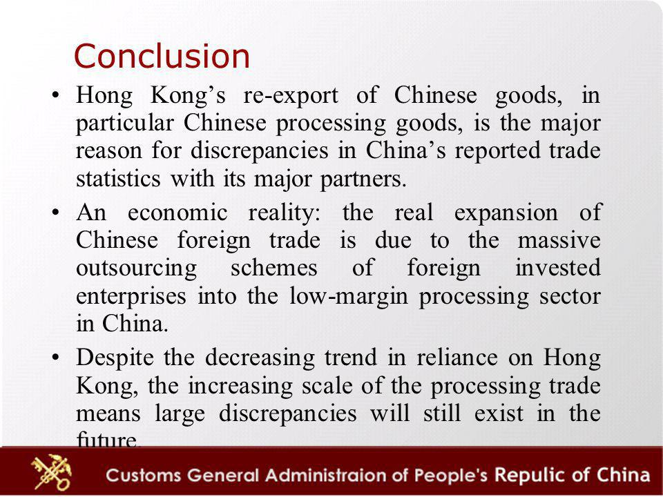 Hong Kongs re-export of Chinese goods, in particular Chinese processing goods, is the major reason for discrepancies in Chinas reported trade statistics with its major partners.
