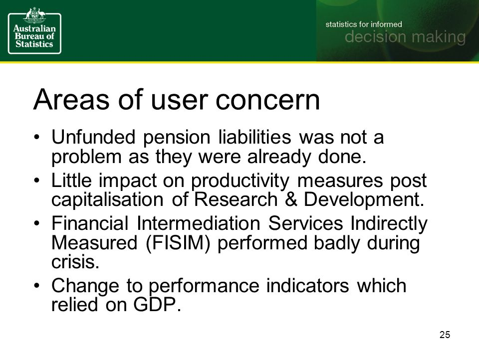 Areas of user concern Unfunded pension liabilities was not a problem as they were already done.