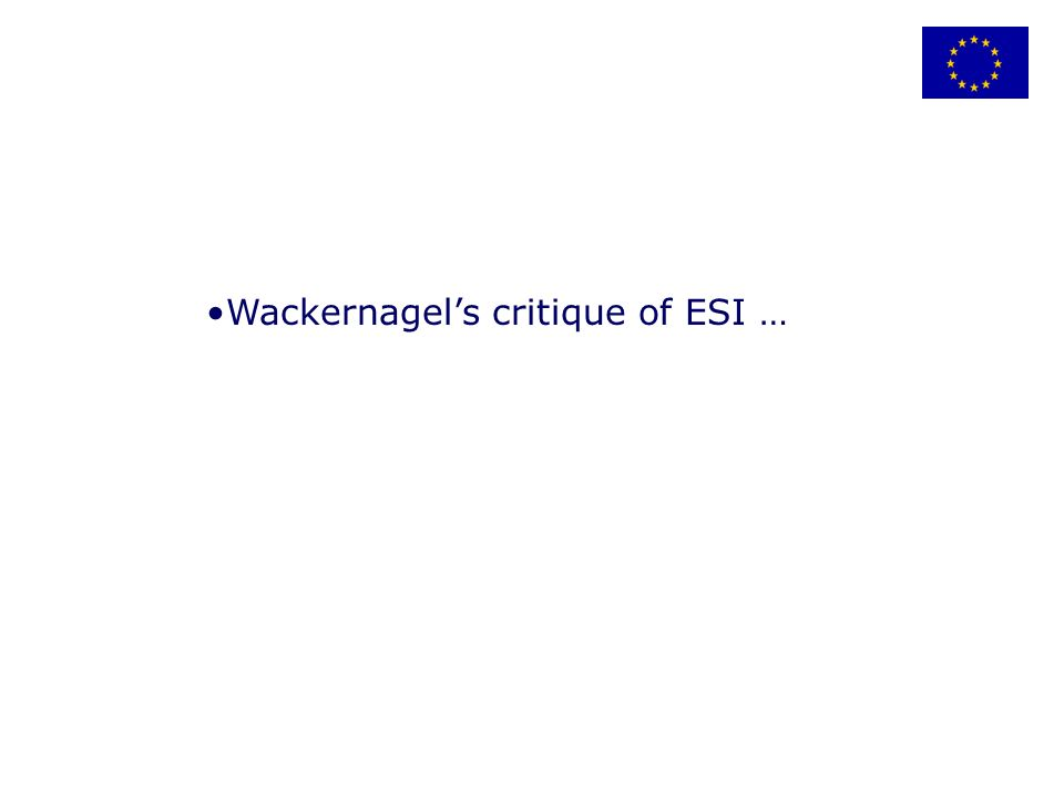 Wackernagels critique of ESI …
