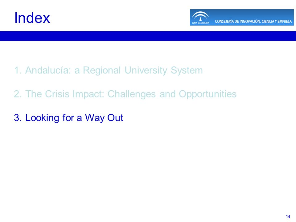 14 1.Andalucía: a Regional University System 2.The Crisis Impact: Challenges and Opportunities 3.Looking for a Way Out Index