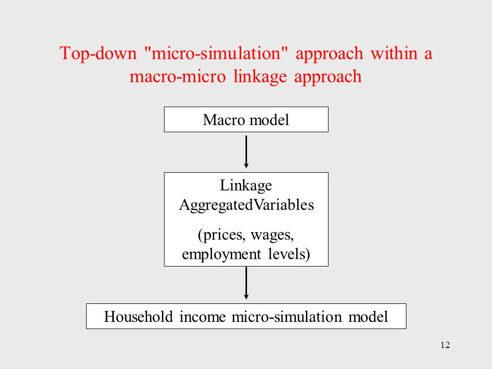 12 Top-down micro-simulation approach within a macro-micro linkage approach Macro model Linkage AggregatedVariables (prices, wages, employment levels) Household income micro-simulation model