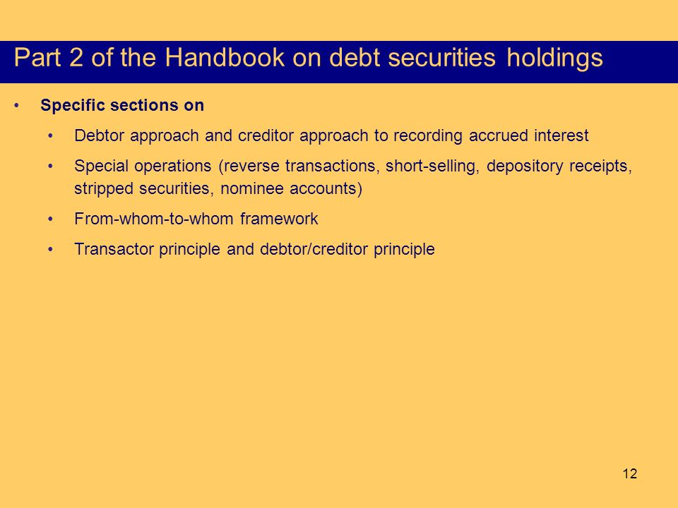 12 Content of the Part I of the HSS Specific sections on Debtor approach and creditor approach to recording accrued interest Special operations (reverse transactions, short-selling, depository receipts, stripped securities, nominee accounts) From-whom-to-whom framework Transactor principle and debtor/creditor principle Part 2 of the Handbook on debt securities holdings
