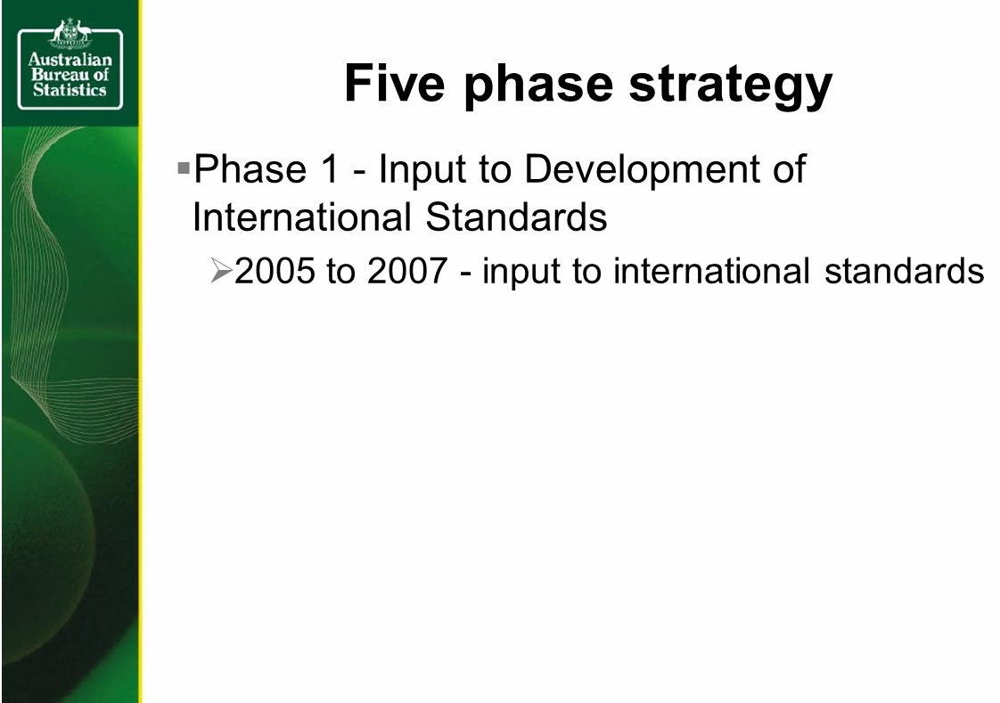 Phase 1 - Input to Development of International Standards 2005 to input to international standards Five phase strategy