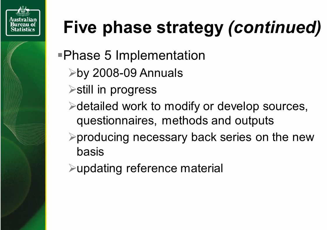 Five phase strategy (continued) Phase 5 Implementation by Annuals still in progress detailed work to modify or develop sources, questionnaires, methods and outputs producing necessary back series on the new basis updating reference material