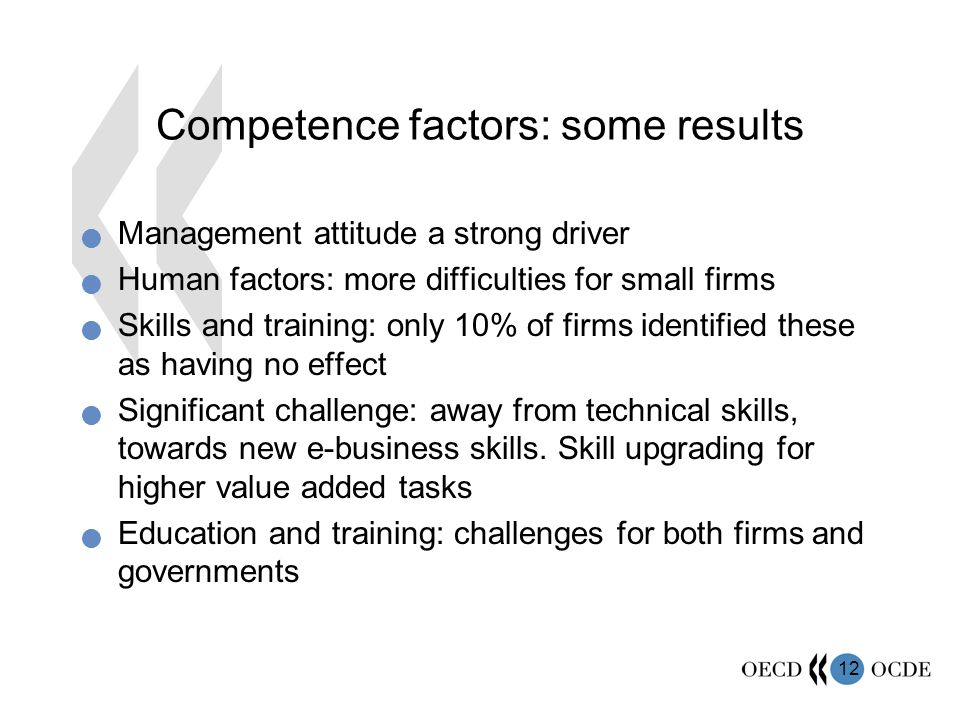 12 Competence factors: some results Management attitude a strong driver Human factors: more difficulties for small firms Skills and training: only 10% of firms identified these as having no effect Significant challenge: away from technical skills, towards new e-business skills.