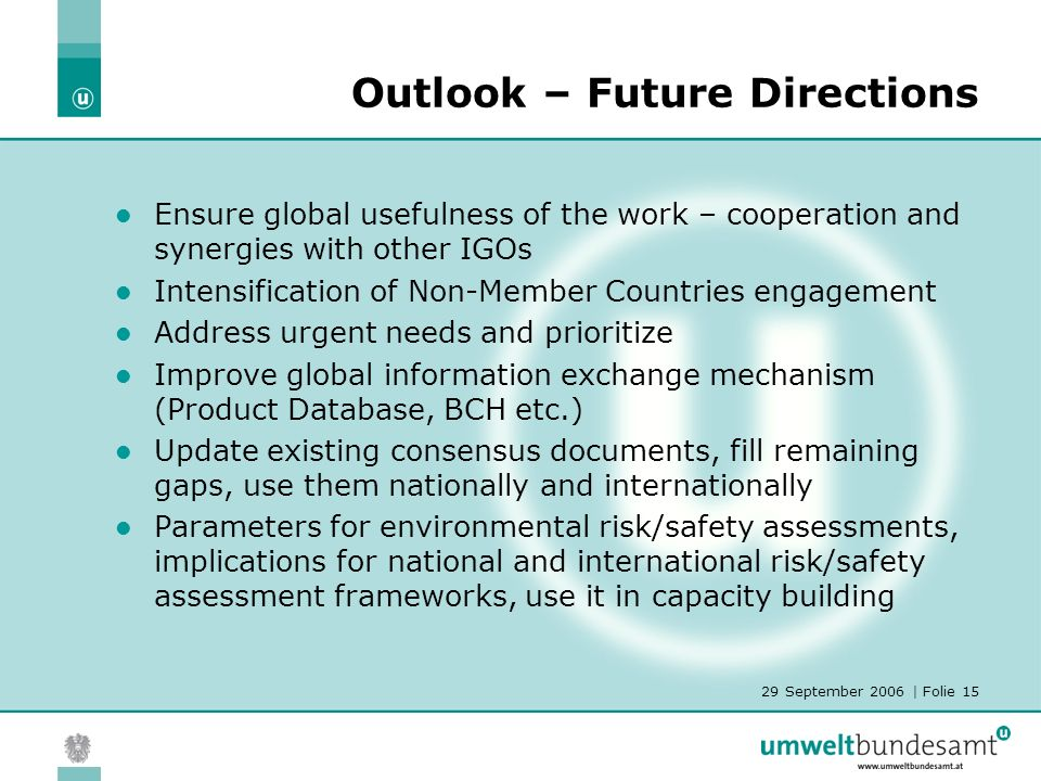 29 September 2006 | Folie 15 Outlook – Future Directions Ensure global usefulness of the work – cooperation and synergies with other IGOs Intensification of Non-Member Countries engagement Address urgent needs and prioritize Improve global information exchange mechanism (Product Database, BCH etc.) Update existing consensus documents, fill remaining gaps, use them nationally and internationally Parameters for environmental risk/safety assessments, implications for national and international risk/safety assessment frameworks, use it in capacity building