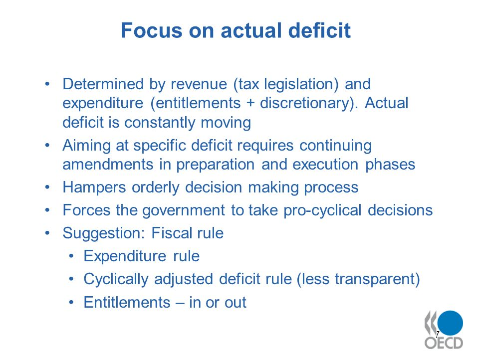7 Focus on actual deficit Determined by revenue (tax legislation) and expenditure (entitlements + discretionary).