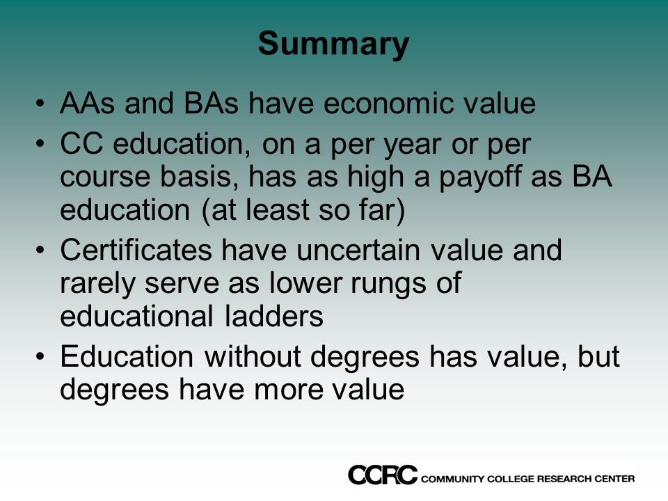 Summary AAs and BAs have economic value CC education, on a per year or per course basis, has as high a payoff as BA education (at least so far) Certificates have uncertain value and rarely serve as lower rungs of educational ladders Education without degrees has value, but degrees have more value