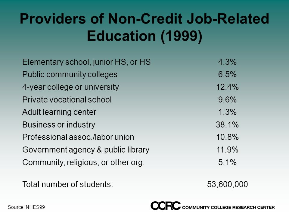 Providers of Non-Credit Job-Related Education (1999) Elementary school, junior HS, or HS4.3% Public community colleges6.5% 4-year college or university12.4% Private vocational school9.6% Adult learning center1.3% Business or industry38.1% Professional assoc./labor union10.8% Government agency & public library11.9% Community, religious, or other org.5.1% Total number of students:53,600,000 Source: NHES99