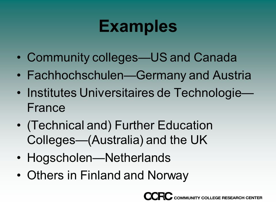 Examples Community collegesUS and Canada FachhochschulenGermany and Austria Institutes Universitaires de Technologie France (Technical and) Further Education Colleges(Australia) and the UK HogscholenNetherlands Others in Finland and Norway
