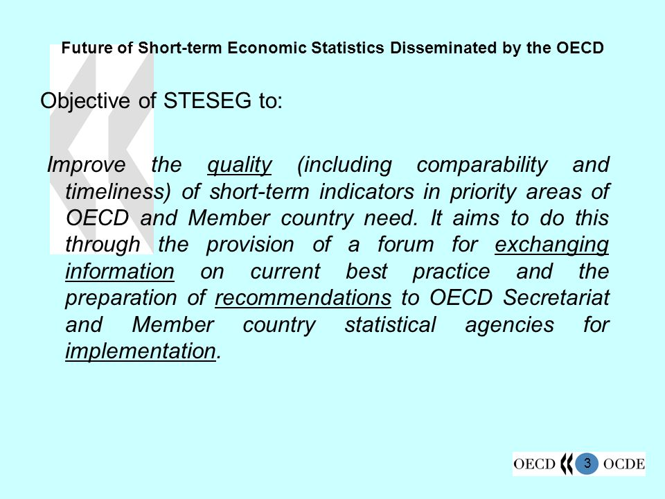 3 Future of Short-term Economic Statistics Disseminated by the OECD Objective of STESEG to: Improve the quality (including comparability and timeliness) of short-term indicators in priority areas of OECD and Member country need.
