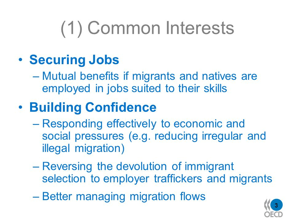 3 (1) Common Interests Securing Jobs –Mutual benefits if migrants and natives are employed in jobs suited to their skills Building Confidence –Responding effectively to economic and social pressures (e.g.