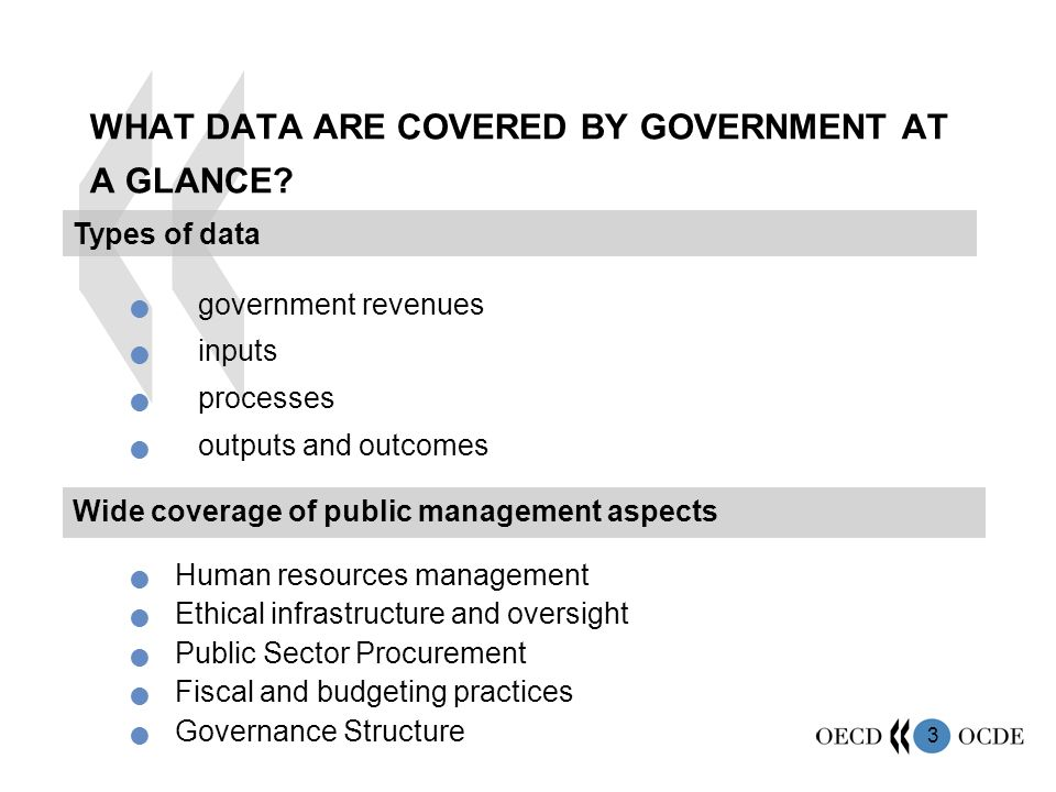 3 WHAT DATA ARE COVERED BY GOVERNMENT AT A GLANCE.
