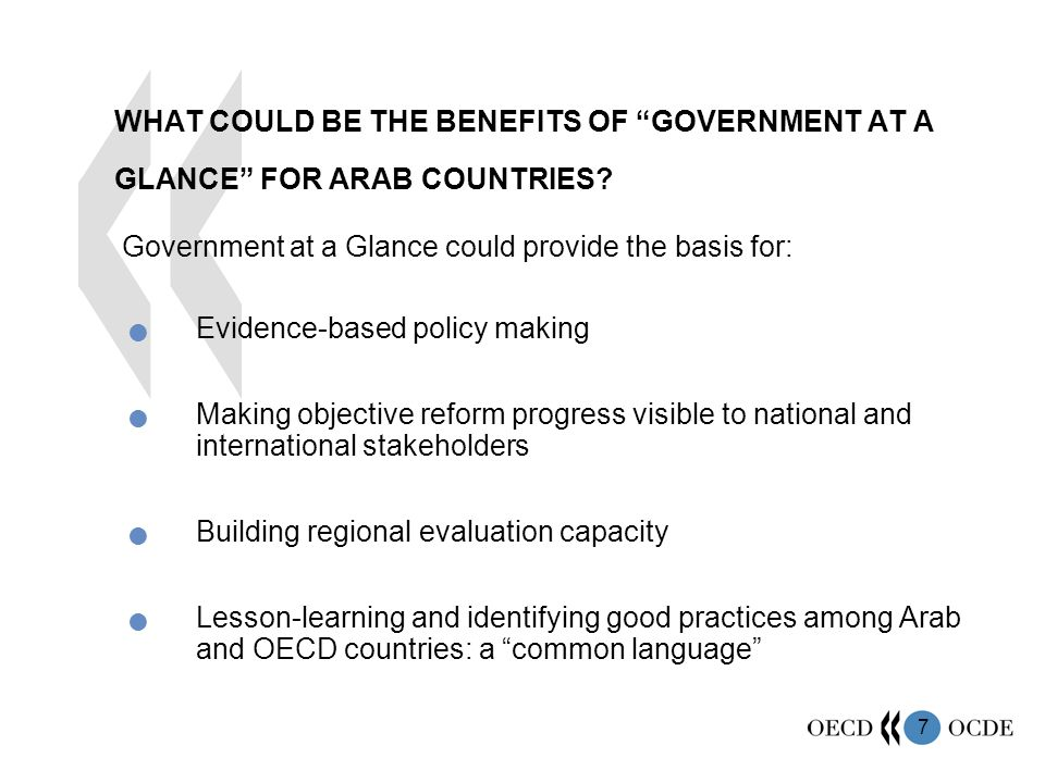 7 WHAT COULD BE THE BENEFITS OF GOVERNMENT AT A GLANCE FOR ARAB COUNTRIES.