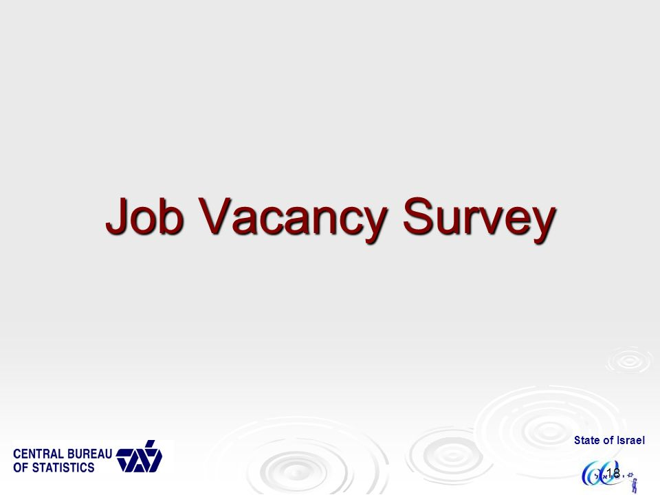 State of Israel 18 Job Vacancy Survey