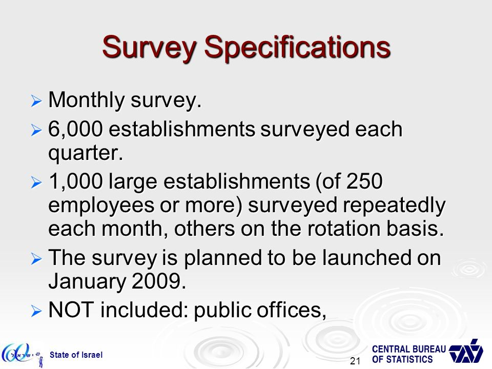 State of Israel 21 Survey Specifications Monthly survey.