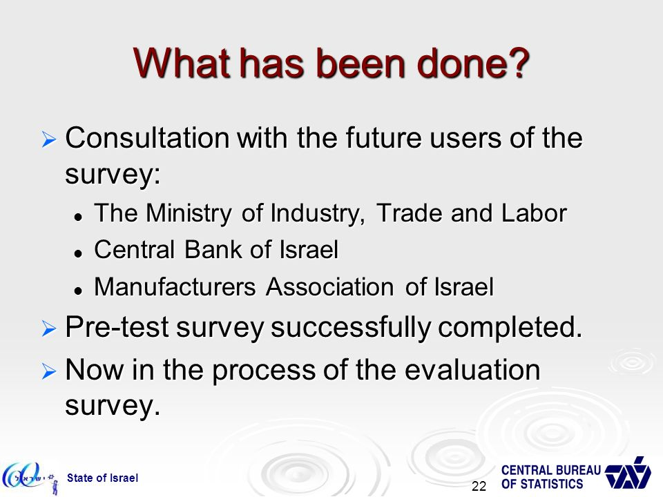 State of Israel 22 What has been done.