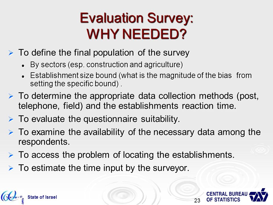 State of Israel 23 Evaluation Survey: WHY NEEDED.
