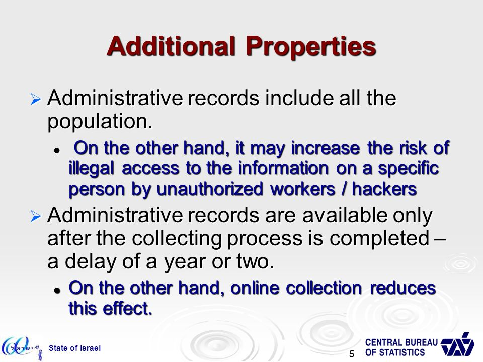State of Israel 5 Additional Properties Administrative records include all the population.