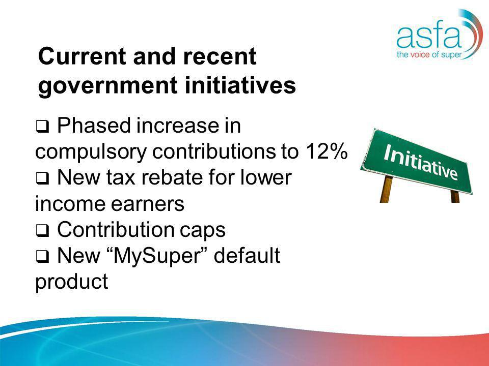 Current and recent government initiatives Phased increase in compulsory contributions to 12% New tax rebate for lower income earners Contribution caps New MySuper default product