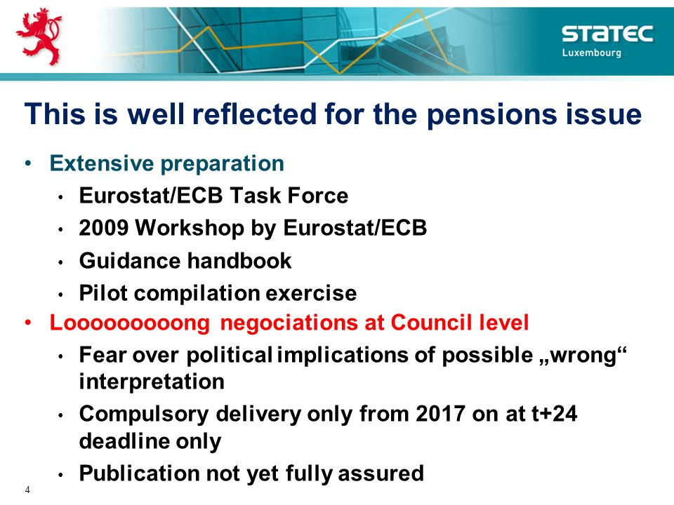 This is well reflected for the pensions issue Extensive preparation Eurostat/ECB Task Force 2009 Workshop by Eurostat/ECB Guidance handbook Pilot compilation exercise Looooooooong negociations at Council level Fear over political implications of possible wrong interpretation Compulsory delivery only from 2017 on at t+24 deadline only Publication not yet fully assured 4