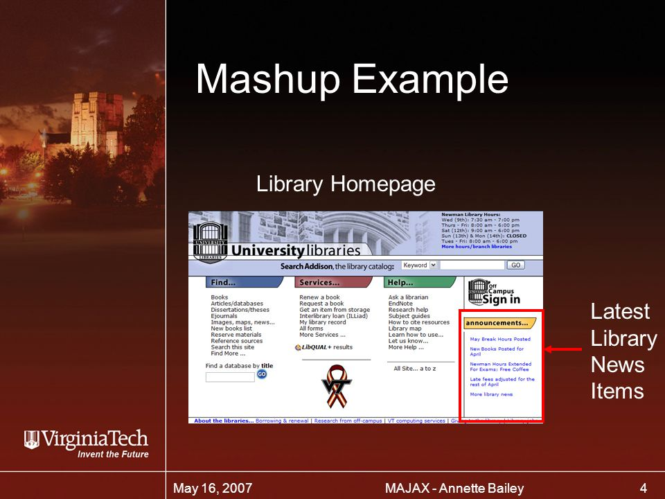 4 MAJAX - Annette BaileyMay 16, 2007 Mashup Example Library Homepage Latest Library News Items