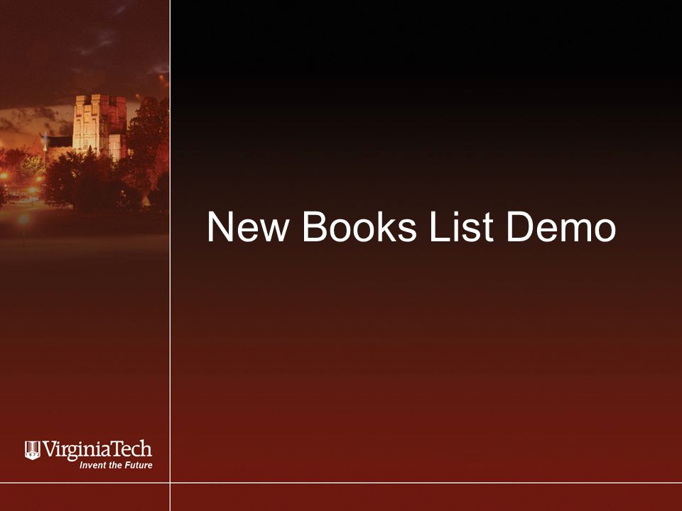 New Books List Demo