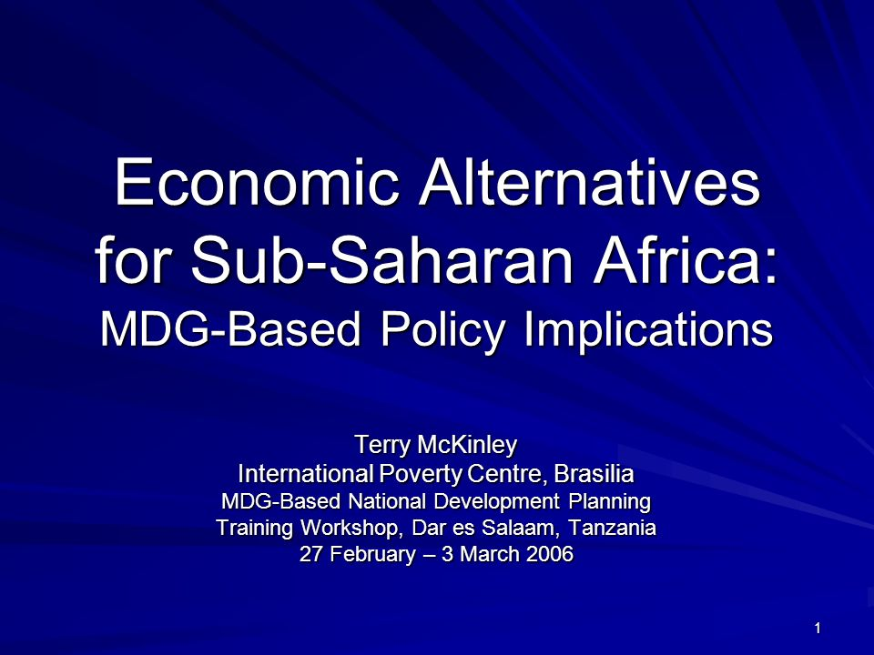 1 Economic Alternatives for Sub-Saharan Africa: MDG-Based Policy Implications Terry McKinley International Poverty Centre, Brasilia MDG-Based National Development Planning Training Workshop, Dar es Salaam, Tanzania 27 February – 3 March 2006