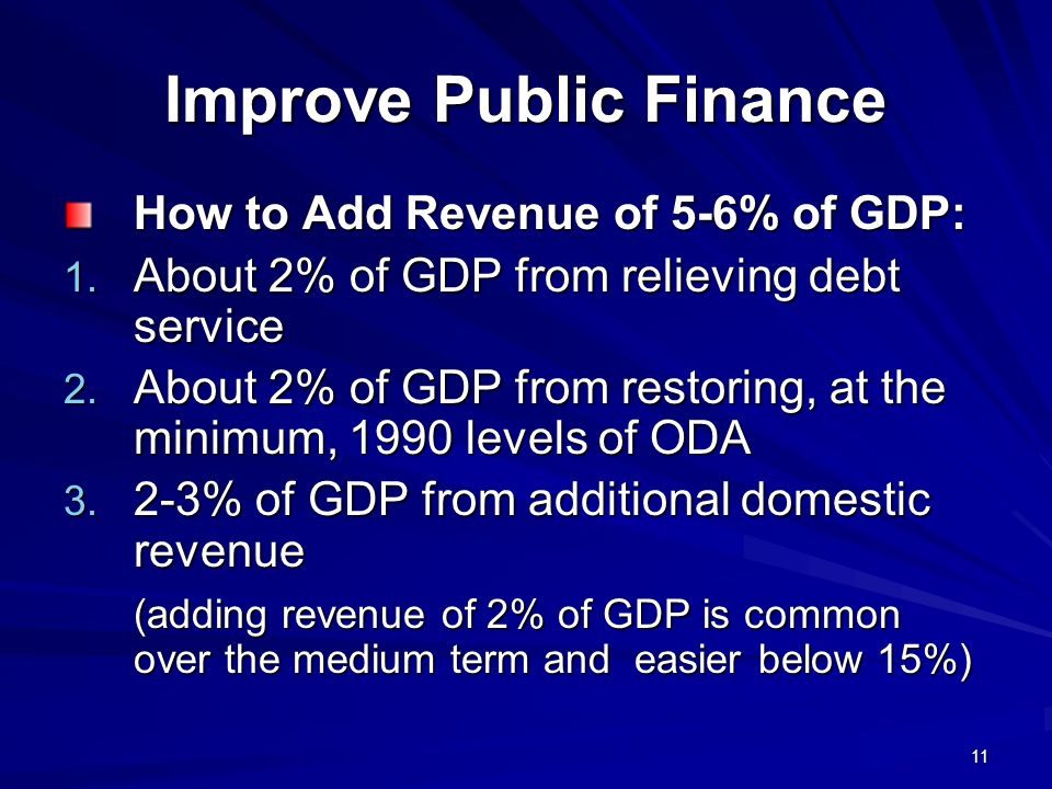 11 Improve Public Finance How to Add Revenue of 5-6% of GDP: 1.