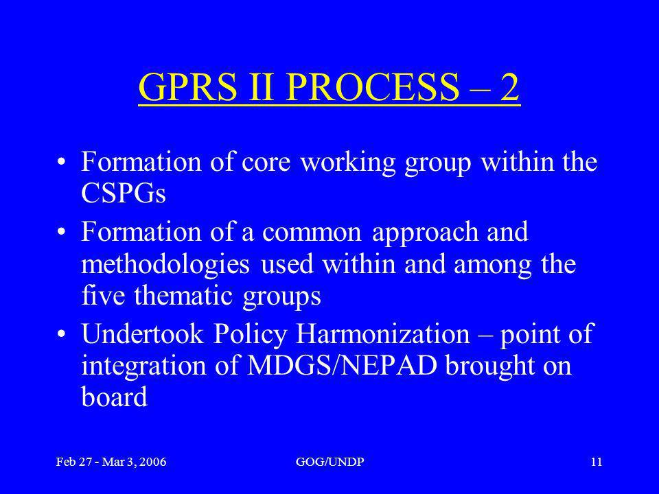 Feb 27 - Mar 3, 2006GOG/UNDP11 GPRS II PROCESS – 2 Formation of core working group within the CSPGs Formation of a common approach and methodologies used within and among the five thematic groups Undertook Policy Harmonization – point of integration of MDGS/NEPAD brought on board