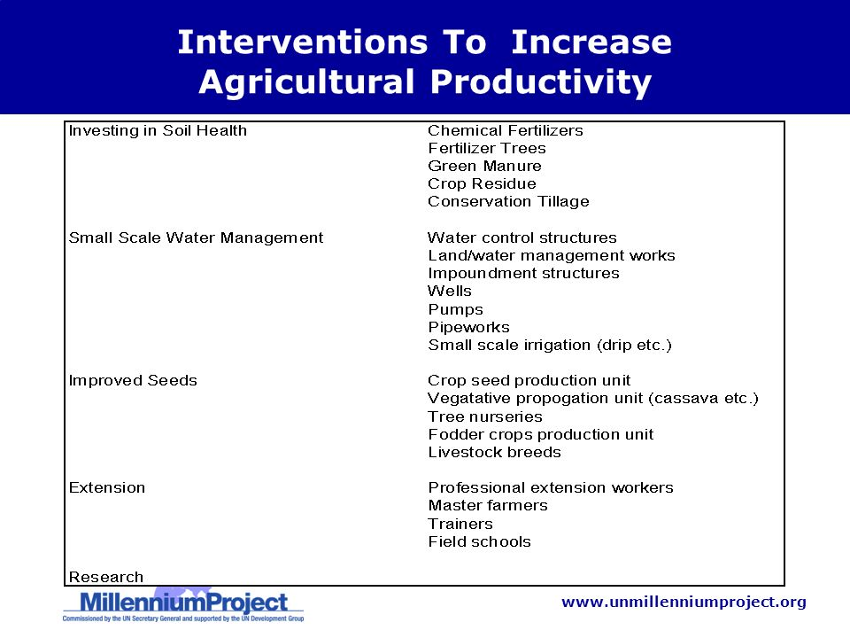 www.unmillenniumproject.org Interventions To Increase Agricultural Productivity