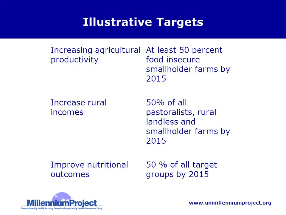 www.unmillenniumproject.org Illustrative Targets Increasing agricultural productivity At least 50 percent food insecure smallholder farms by 2015 Increase rural incomes 50% of all pastoralists, rural landless and smallholder farms by 2015 Improve nutritional outcomes 50 % of all target groups by 2015
