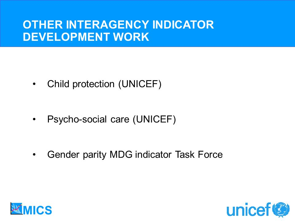 Child protection (UNICEF) Psycho-social care (UNICEF) Gender parity MDG indicator Task Force OTHER INTERAGENCY INDICATOR DEVELOPMENT WORK