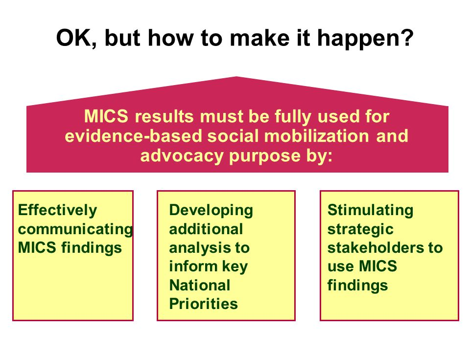 MICS results must be fully used for evidence-based social mobilization and advocacy purpose by: OK, but how to make it happen.