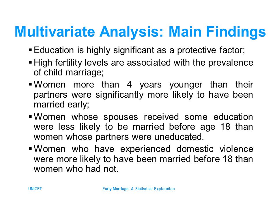 UNICEFEarly Marriage: A Statistical Exploration Multivariate Analysis: Main Findings Education is highly significant as a protective factor; High fertility levels are associated with the prevalence of child marriage; Women more than 4 years younger than their partners were significantly more likely to have been married early; Women whose spouses received some education were less likely to be married before age 18 than women whose partners were uneducated.