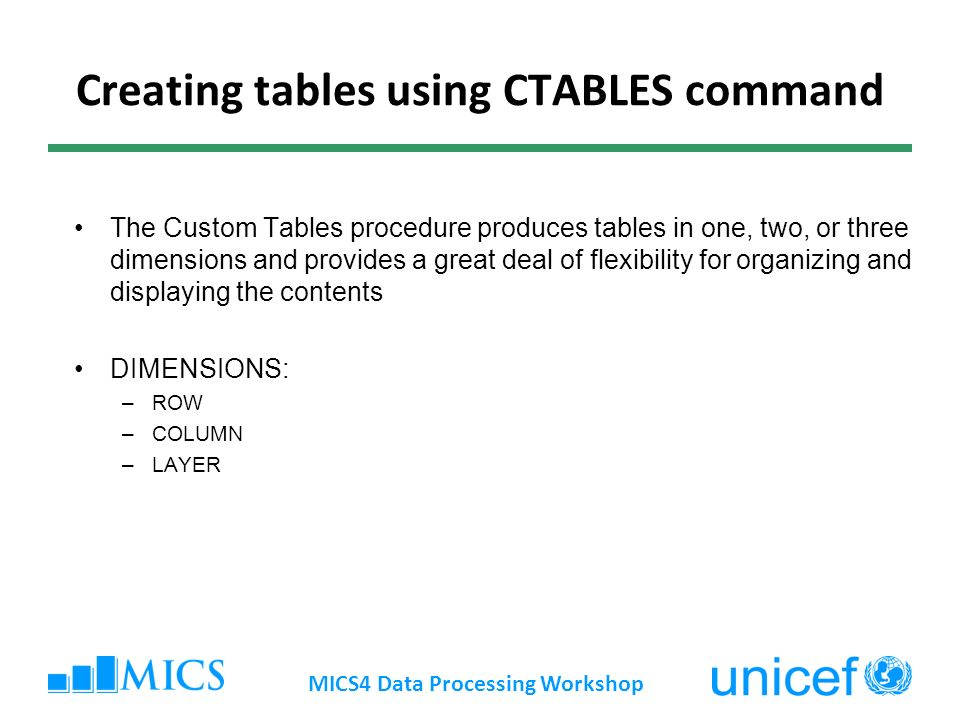 Creating tables using CTABLES command The Custom Tables procedure produces tables in one, two, or three dimensions and provides a great deal of flexibility for organizing and displaying the contents DIMENSIONS: –ROW –COLUMN –LAYER MICS4 Data Processing Workshop