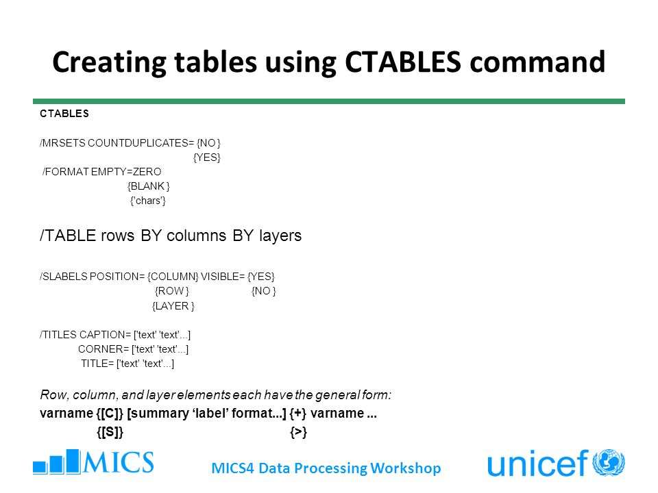 Creating tables using CTABLES command MICS4 Data Processing Workshop CTABLES /MRSETS COUNTDUPLICATES= {NO } {YES} /FORMAT EMPTY=ZERO {BLANK } { chars } /TABLE rows BY columns BY layers /SLABELS POSITION= {COLUMN} VISIBLE= {YES} {ROW } {NO } {LAYER } /TITLES CAPTION= [ text text ...] CORNER= [ text text ...] TITLE= [ text text ...] Row, column, and layer elements each have the general form: varname {[C]} [summary label format...] {+} varname...