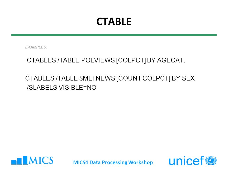 CTABLE EXAMPLES: CTABLES /TABLE POLVIEWS [COLPCT] BY AGECAT.