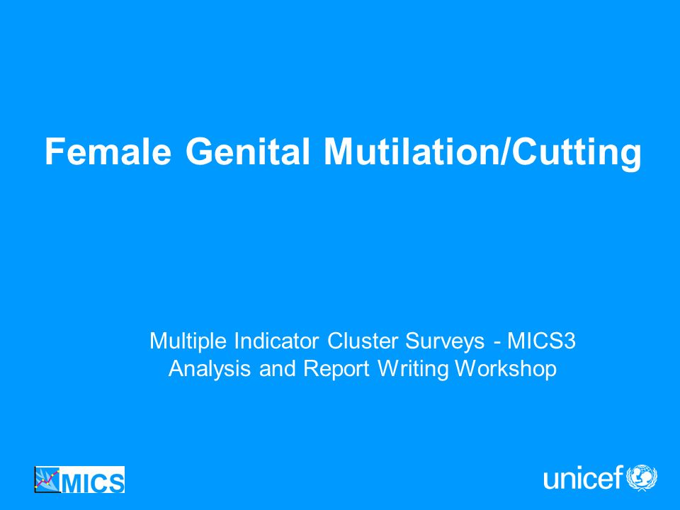 Female Genital Mutilation/Cutting Multiple Indicator Cluster Surveys - MICS3 Analysis and Report Writing Workshop
