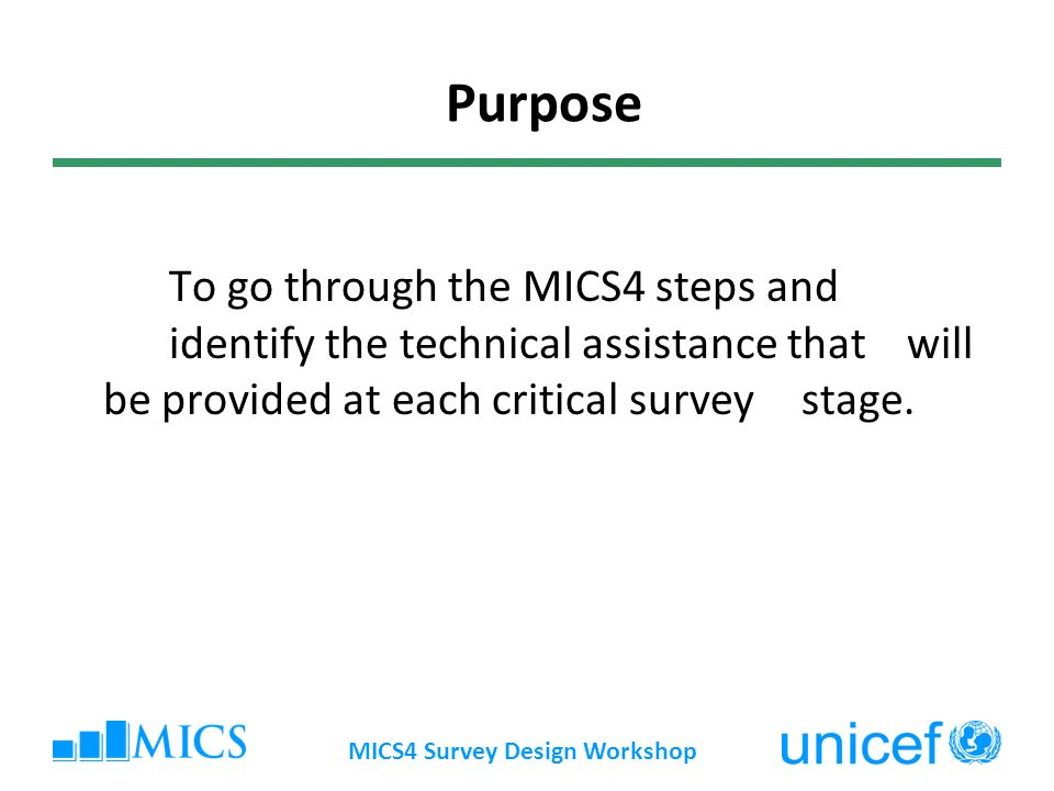 To go through the MICS4 steps and identify the technical assistance that will be provided at each critical survey stage.