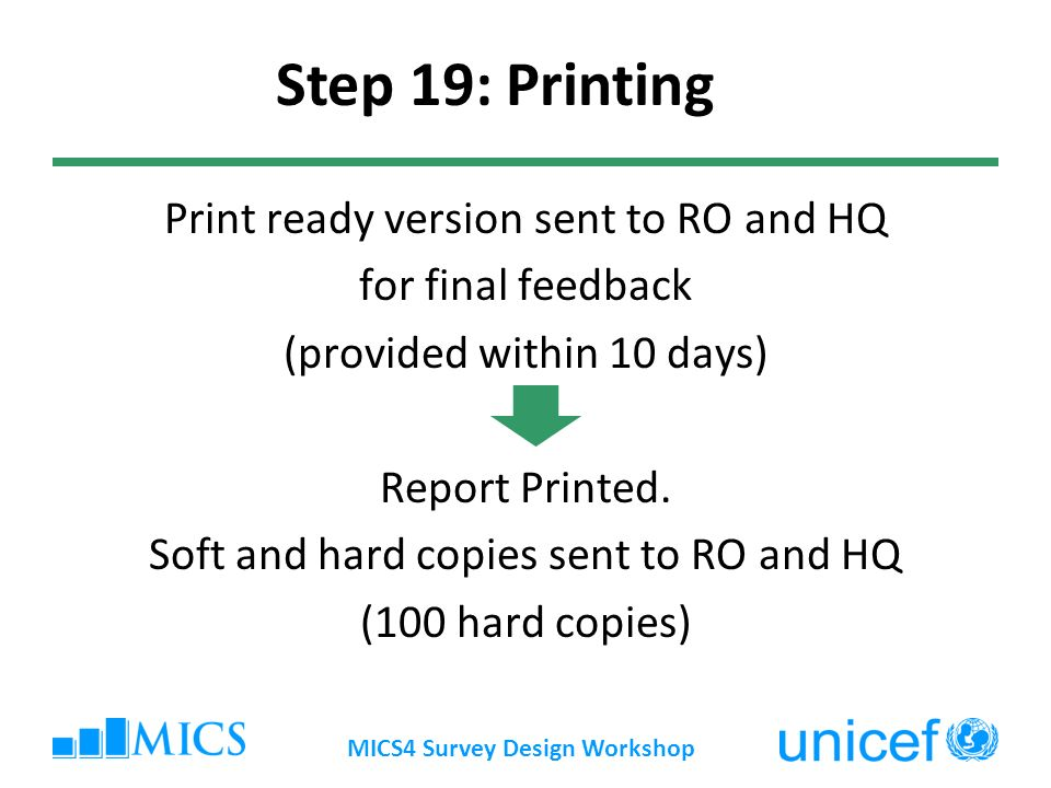 Print ready version sent to RO and HQ for final feedback (provided within 10 days) Report Printed.