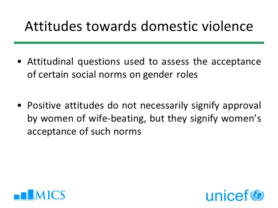 Attitudes towards domestic violence Attitudinal questions used to assess the acceptance of certain social norms on gender roles Positive attitudes do not necessarily signify approval by women of wife-beating, but they signify womens acceptance of such norms