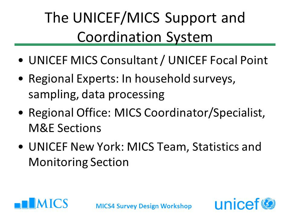 MICS4 Survey Design Workshop The UNICEF/MICS Support and Coordination System UNICEF MICS Consultant / UNICEF Focal Point Regional Experts: In household surveys, sampling, data processing Regional Office: MICS Coordinator/Specialist, M&E Sections UNICEF New York: MICS Team, Statistics and Monitoring Section